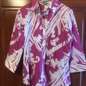 Foxcroft Magenta and White Blouse Size 14